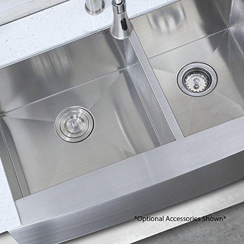 Decor Star F-002-Z 33 Inch x 20 Inch Farmhouse Apron 60/40 Offset Double Bowl 16 Gauge Stainless Steel Luxury Handmade Kitchen Sink cUPC Zero Radius by Décor Star (Image #3)