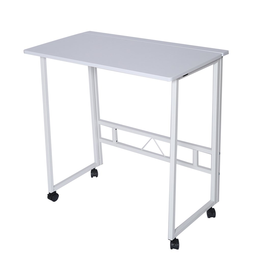 Folding Writing Table Rolling Laptop Notebook Computer Desk with Wheels Poarmeey(white)