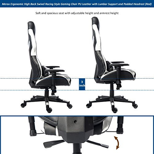 Merax Ergonomic High Back Swivel Racing Style Gaming Chair Pu