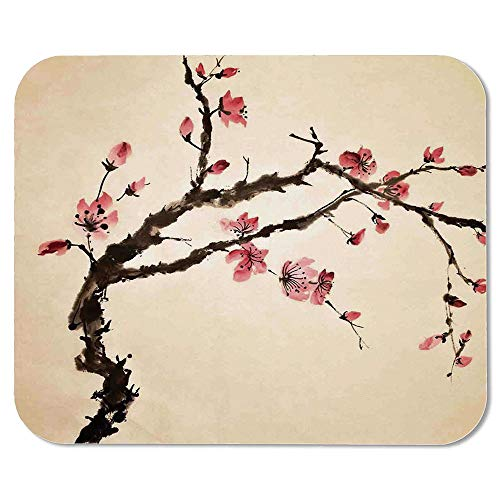 - Japanese Ordinary Mouse Pad,Traditional Chinese Paint of Figural Tree with Details Brushstroke Effects Print for Computers Laptop Office & Home,7.87''Wx9.45''Lx0.08''H