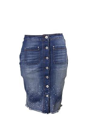 f57d64c16fd Vintage America Womens Carson s Raw Hem Button-Front Denim Skirt Blue 10 at  Amazon Women s Clothing store