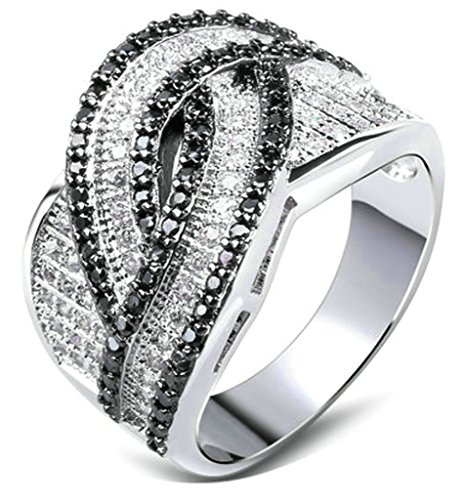 Daesar Women Rings Gold Plated Rings Silver Ring Black & White CZ Wedding Rings Infinity Size: - Of Lebanon Outlets Prime