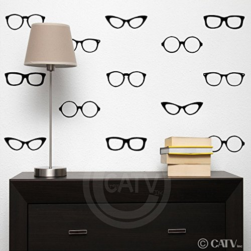 (Reading / Nerd Glasses vinyl lettering wall decal stickers Set of 30)