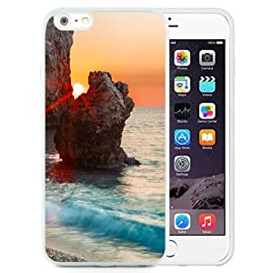 NEW Unique Custom Designed iPhone 6 Plus 5.5 Inch Phone Case With Sun Behind Rocks Clear Blue Sea_White Phone Case