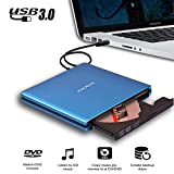 JOKDEER USB 3.0 External DVD-RW Drive Burner All-aluminum Ultra Slim Portable DVD Rewriter Burner CD/DVD-RW Writer Burner for Laptop and Desktop PC Windows and Linux OS Apple Mac Macbook Pro (Blue)