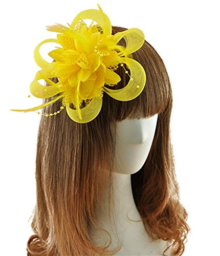 [Coolr Fascinator Hair Clip Cocktail Headwear Flower Bridal Headpieces (Yellow )] (Cute Gothic Girl Halloween Costumes)