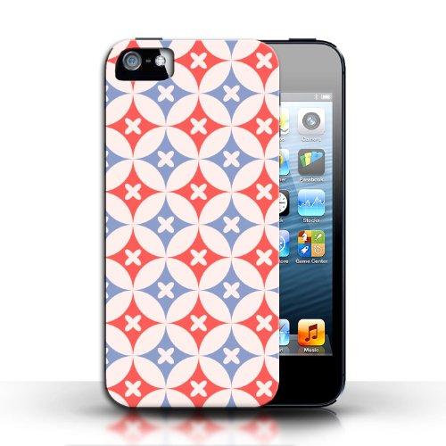 Etui / Coque pour Apple iPhone 5/5S / Rouge / Bleu conception / Collection de Kaléidoscope