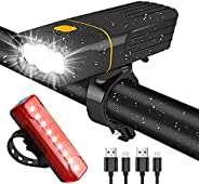 Tisuokae Bike Lights Set USB Rechargeable, Waterproof Ultra Bright Front Headlight and High Intensity red LED