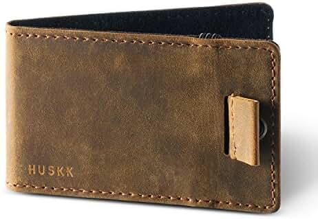 Slim Leather Credit Card Holder Wallet for Men - Minimalist Front Pocket Sleeve with Elastic Money Clip