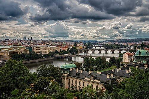 芸術はポスターを印刷します - プラハチェコ共和国パノラマ - キャンバスアートプリントポスター - 50cmx33cm