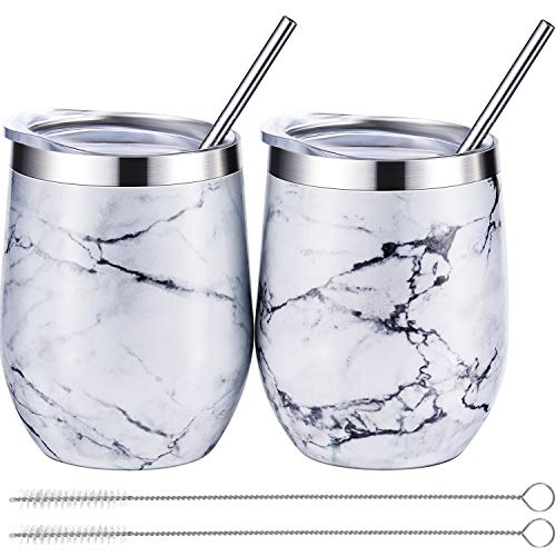 BBTO 2 Sets 12 oz Stainless Steel Stemless Wine Glass, Unbreakable Double Wall Insulate Cup Tumbler with Lids for Wine, Coffee, Including 2 Pieces Straws and 2 Pieces Brushes (Marbling) ()