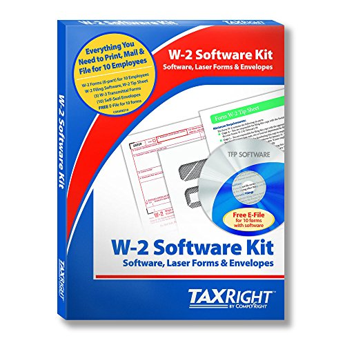W2 6 Part Laser Tax Kit With Software And Envelopes For 10 Employees
