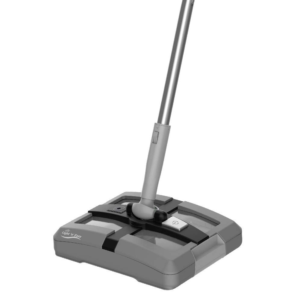 Rechargeable Electric Broom Cordless Floor Sweeper For Home Office Hard/Bare Floor Cleaning, Ergonomic Handle & Double Powerful Brushes, Up to 40 Minutes,Dual Brush Rotating V9101 (Grey) by LIGHT 'N' EASY