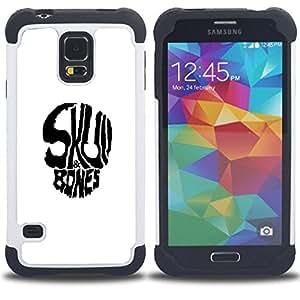 """SAMSUNG Galaxy S5 V / i9600 / SM-G900 - 3 en 1 impreso colorido de Altas Prestaciones PC Funda chaqueta Negro cubierta gel silicona suave (Huesos del cráneo"""")"""