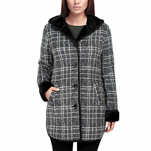 Ike Behar Women's Plush Lined Hooded Soft Cozy Jacket Sweater (Grey,Medium)