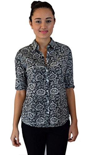 (Ayurvastram Pure Cotton Hand Block Printed Ladies' Shirt; Floral Print Navy; XL)