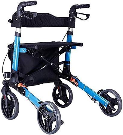 SISHUINIANHUA Andador Plegable Walker Heavy Duty Cesta de la Compra con el capítulo de Asiento médica Andadores Vespa Sistema de Frenos Coche Doble, 4 Ruedas Usados para Mayores (Color: Azul)
