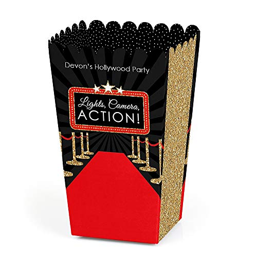 (Personalized Red Carpet Hollywood - Custom Movie Night Party Favor Popcorn Treat Boxes - Set of)
