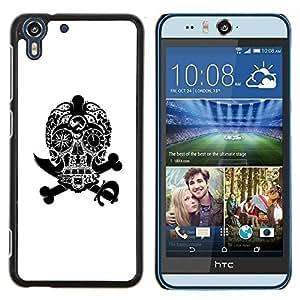 Stuss Case / Funda Carcasa protectora - Blanco Cráneo Negro Pirata Jewel Muerte - HTC Desire Eye M910x