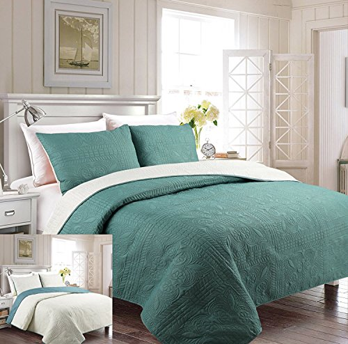 Mk Collection 3pc Full/Queen Oversize Luxurious Embossed Coverlet Bedspread Set Solid Spa Blue/Beige Reversible New by MK Home