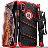 Zizo Bolt Series Compatible with iPhone Xs Max case Military Grade Drop Tested with Tempered Glass Screen Protector, Holster, Kickstand Black RED