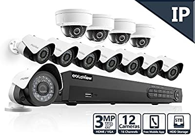Prime Deal of the Day 2016 LaView 3MP IP 12 Camera Security System, 16 Channel IP PoE NVR (Resolution 1080p - 6MP) w/5TB HDD and 8 IP Bullet & 4 IP Dome White Surveillance Camera Kit