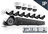 LaView 3MP IP 12 Camera Security System, 16 Channel IP PoE NVR (Resolution 1080p - 6MP) w/5TB HDD and 8 IP Bullet & 4 IP Dome White Surveillance Camera Kit