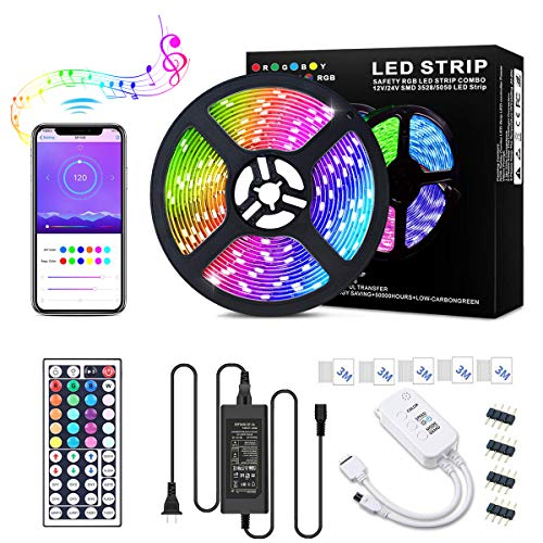 LED Strip Lights, SONATA Color Changing Rope Lights 16.4ft SMD 5050 RGB 300LEDLight Strips with WIFI Controller Sync to Music, IP65, 24 Keys IR Remote Controller and 12V Power Supply for Bedroom, Home
