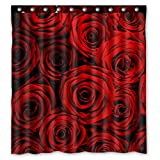 Custom Waterproof Fabric Bathroom Shower Curtain with Hooks Red Rose Flower Floral Print Design 66 x 72 Inches