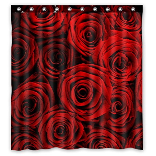 KXMDXA Custom Waterproof Fabric Bathroom Shower Curtain with Hooks Red Rose Flower Floral Print Design 66 x 72 Inches