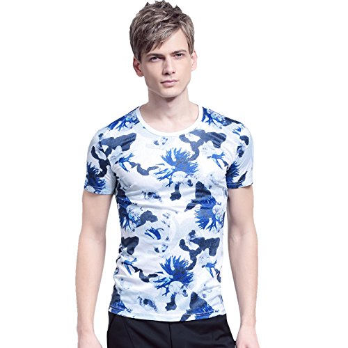 FANZHUAN Men Shirts Printed Slim Fit Casual Short Sleeves T-shirt with (Sincerely Jules Halloween)