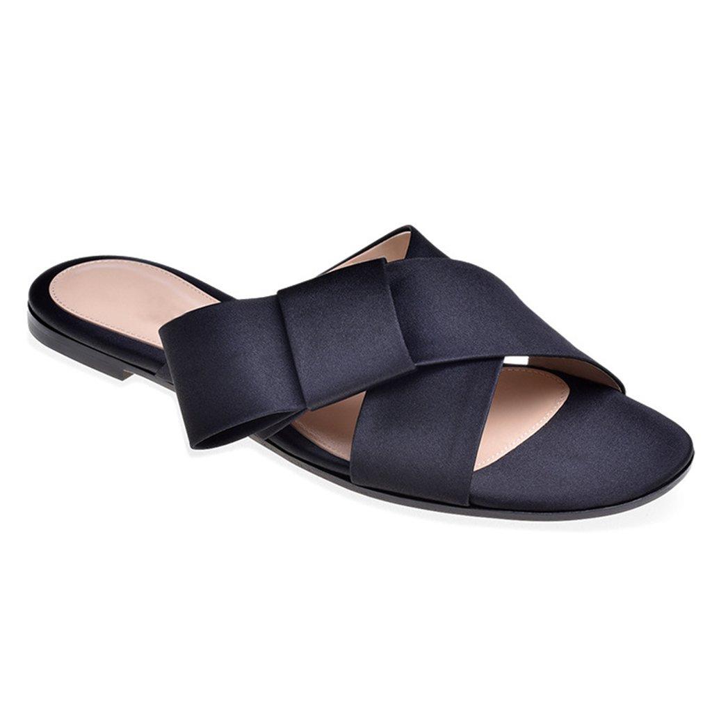 LYY.YY Zapatos De Playa para Mujeres Sandalias De Vacaciones Ocasionales Zapatos Planos Zapatillas De Punta Abierta Zapatillas Cómodas,Black,40 40|Black