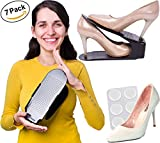7 Rack Shoe Organizer for Closet and 6 Silicone Pads – Space Savers for Men and Women – Shoes Holders Suitable for High Heels, Tennis Shoes, Sneakers, Flats, Sandals, Kids Shoes, and More
