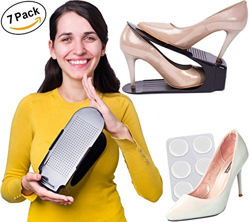 7 Rack Shoe Slots Organizer for Closet and 6 Silicone Pads – Premium Shoe Space Savers – Shoes Holders Suitable for High Heels, Tennis Shoes, Sneakers, Flats, Sandals, Kids Shoes, and More
