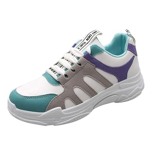 Mujeres CuñAs Zapatillas De Deporte CóModas con Cordones Costura Patchwork TacóN Medio SóLido Plataforma Plana Zapatos De Lona: Amazon.es: Zapatos y ...
