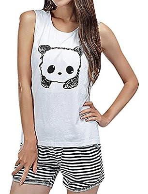 Hibukk Women's Summer Panda Print Sleeveless Striped Breastfeeding Pyjamas