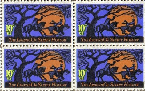 1974 LEGEND OF SLEEPY HOLLOW ~ WASHINGTON IRVING #1548 Block of 4 x 10 cents US Postage (Halloween Postage Stamps)