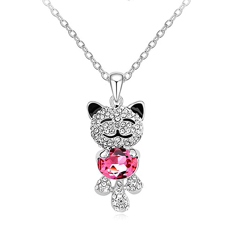 Acefeel Fashion Jewelry Lucky Cat Pendant Made with Swarovski Elements Crystal Necklace N161 N163