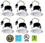 4'' LED Retrofit Downlight Adjustable Gimbal 8W Smooth Finish Dimable Easy Installation (6 Pack)