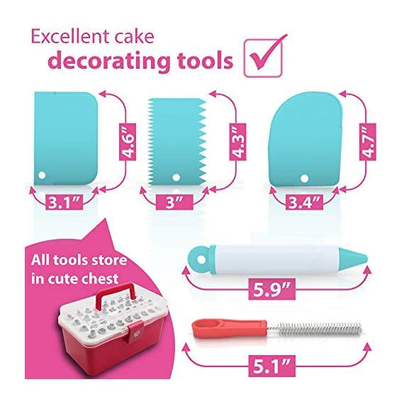 Cake Decorating Kit Cupcake Decorating Kit - 68pcs Cookie Decorating Supplies and Cookie Decorating Kit with Piping Bags and Tips - Frosting Icing Tips Pastry Bags with Tips - Baking Decorating Kit 4 ✅ NEW CAKE DECORATING KIT: Looking for a fresh and stylish cake decorating kit? This icing piping set has every cake decorating tools for expert cake decoration all in one set and something new - Cake Decorating Storage Chest with piping tips Smart Holder! ✅ STYLISH CAKE DECORATING SUPPLIES: Anyone can create professional-looking cakes with these high-quality cake decorating supplies! This cupcake decorating kit includes 36 numbered stainless steel icing tips with Pattern Chart and Extra-Durable 10 pcs icing bags and 2 reusable piping bags. ✅ ICING PIPING SET FOR BEGINNERS: Our cookie decorating kit is designed   to   help   you   create   your   own   decorative   masterpieces   of   all   shapes and   sizes , no matter what your    skill   level may be.   No decorating experience needed!