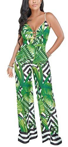 Playworld Women Floral Print Jumpers Deep V Neck High Waist Bodycon One Piece Rompers