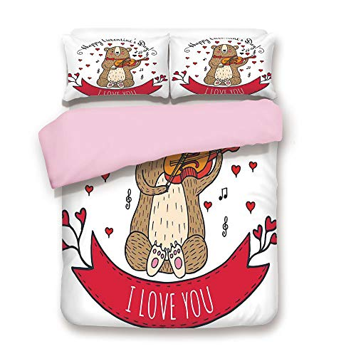 iPrint Pink Duvet Cover Set,King Size,Teddy Bear with Violin Made with Love Romantic Music Notes Heart I Love You,Decorative 3 Piece Bedding Set with 2 Pillow Sham,Best Gift for Girls Women,Red Brown -
