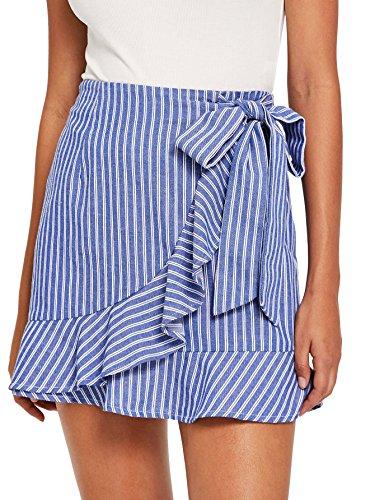 SheIn Women's Cute Ruffle Hem High Waist Bow Knot Plaid Mini Skirt Blue# Small
