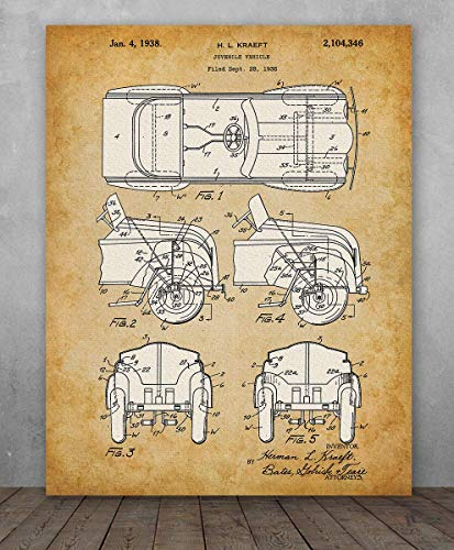 Poster - Pedal Car Patent - Choose Unframed Poster or Canvas - Great Child's Room Decor