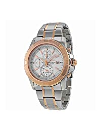Two Tone Stainless Steel Alarm Chronograph Silver Dial