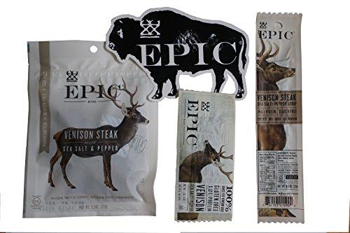 Epic Venison Sampler Pack Deer Jerky Plus Bonus Epic Bison Sticker Bar Stick and Bites