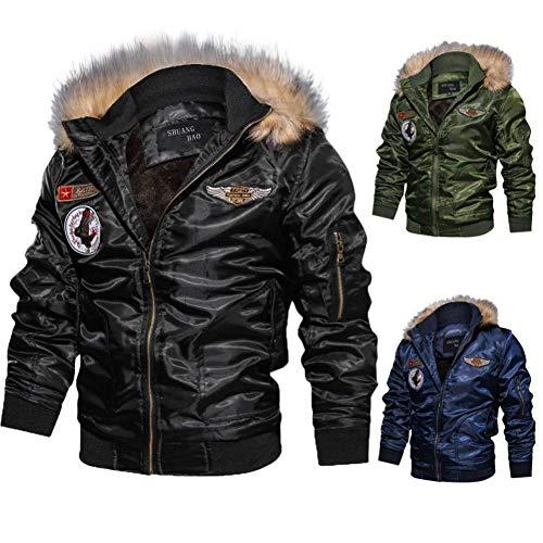 Homme Hiver Chaud Casual Manteau Armée Aviateur Bomber Militaire Blouson Jacket Veste Homme à Capuche Amovible,L… 4
