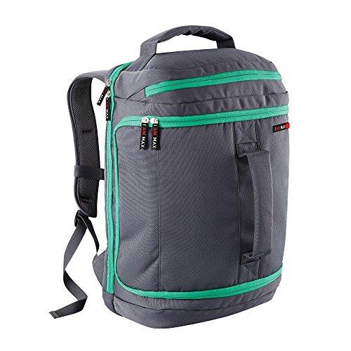 I Am Max Metropolitan Cabin bag | 55x40x20cm bagages sac dos de la main . Idal pour les vols de budget comme Ryanair , easyJet , Monarch et Thomas Cook. (verde / grigio)