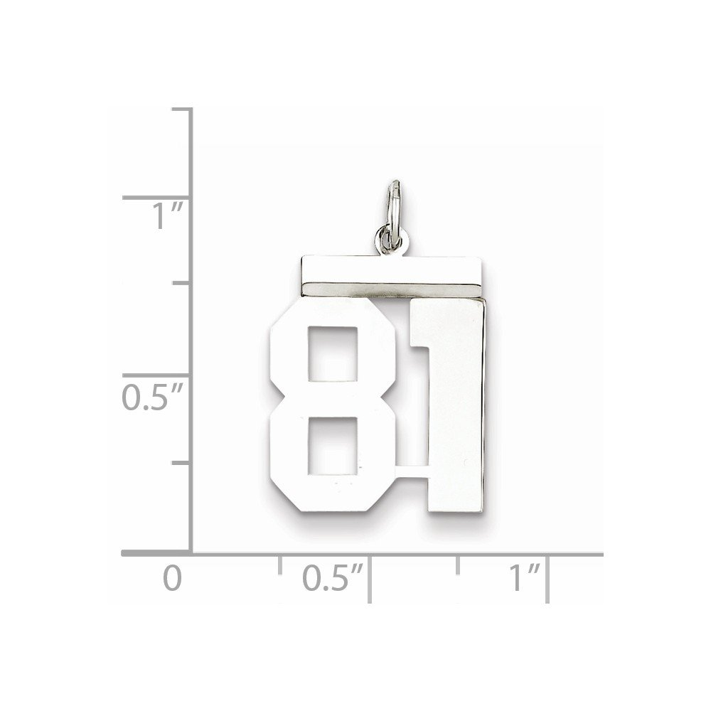Jewel Tie 925 Sterling Silver Medium Polished Number 81 16mm x 21mm
