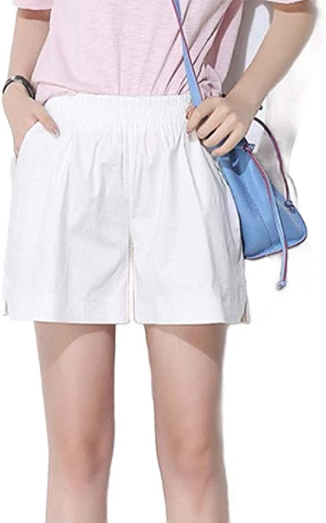 Hajotrawa Boys Summer Linen Elastic Waist Comfortable Pure Color Strings Shorts